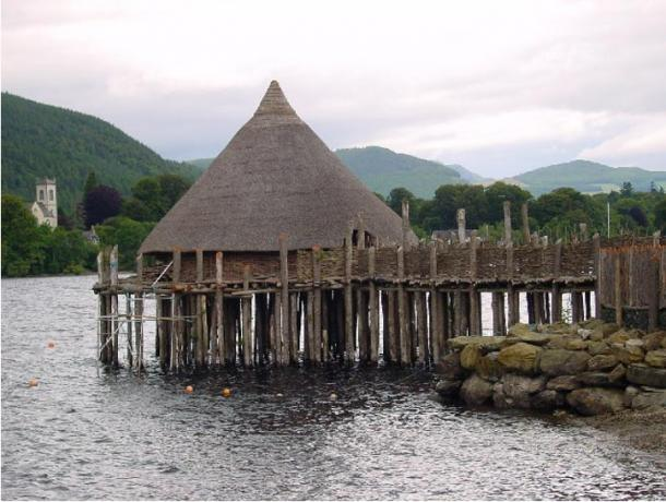 A reconstructed crannog near Kenmore, Perth and Kinross, on Loch Tay, Scotland