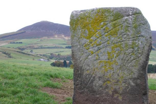"The ""Craw Stane"", a Pictish symbol stone depicting a salmon and an unknown animal, with Tap o' Noth in background. (Ray Berry / CC BY-SA 2.0)"