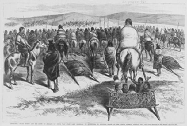 Crazy Horse and his band of Oglala on their way from Camp Sheridan to surrender to General Crook. (McGeddon / Public Domain)