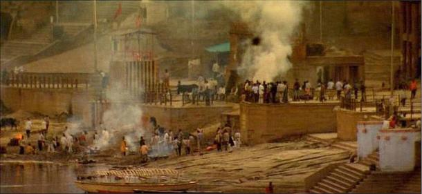 Cremation fires burning at Manikarnika Ghat, Varanasi, India.