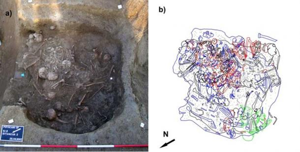 The Croatian massacre mass burial found at Potočani: a) the upper layers of the pit showing numerous commingled skeletons; b) illustration of the various bodies and human remains found at the Croatian massacre site. (Prof. Mario Novak, et al / PLOS ONE)