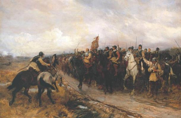 """Cromwell at Dunbar,"" 1886 painting by Andrew Carrick Gow"