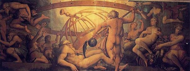 Cronus castrates Uranus (16th Century) by Vasari and Gherardi. Palazzo Vecchio.