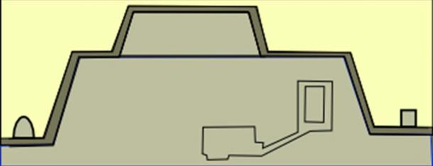 Cross-section of Khentkawes I tomb, Giza, Egypt.