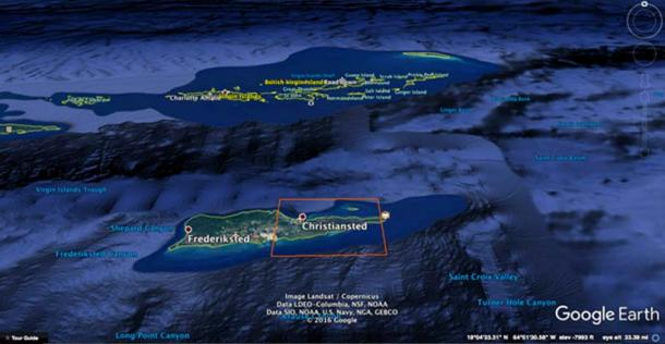 Crossing Virgin Islands Trough and St Croix Basin.