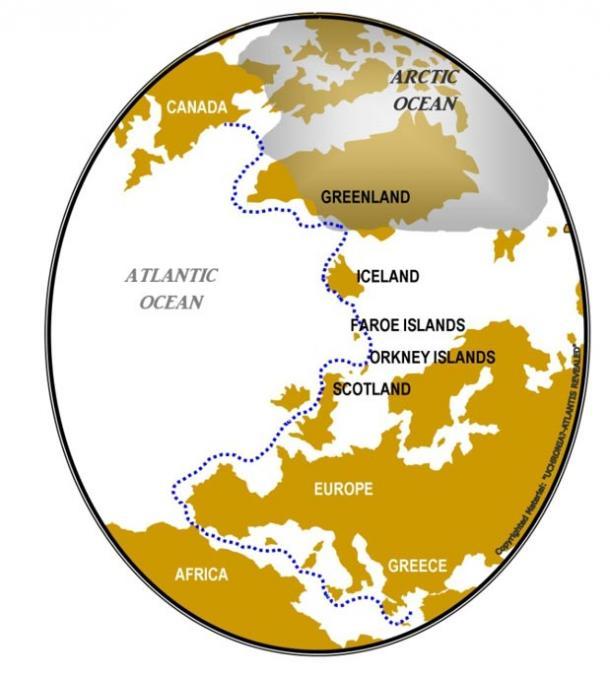 Crossing the Atlantic via island hopping
