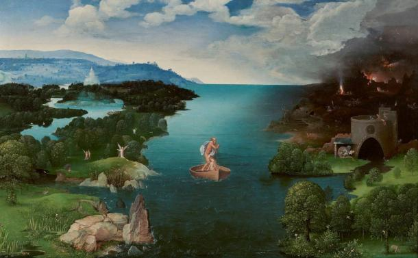 "The 16th century painting ""Crossing the River Styx"" by Joachim Patinir"