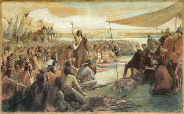 Crowfoot addressing the Marquis or Lorne, Blackfoot Crossing, Alberta (Dessin/CC BY 2.0)