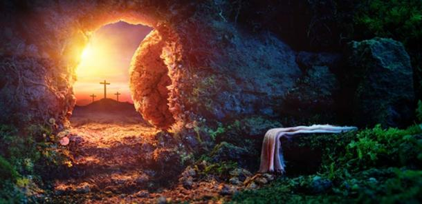 Crucifixion At Sunrise - Empty Tomb With Shroud - Resurrection Of Jesus Christ. (Romolo Tavani / Adobe)