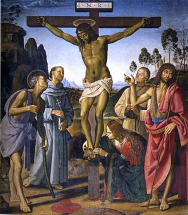 Crucifixion of Christ with Saints by Pietro Perugino circa 1485-90. (Public Domain)