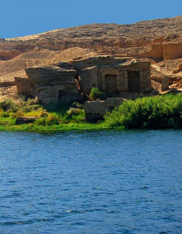Crumbling Rock temples were cut directly in the rocks at the Silsileh quarrying site, near Aswan, for use by quarry workers.