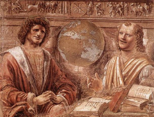 """Crying Heraclitus and laughing Democritus, from a 1477 Italian fresco, Pinacoteca di Brera, Milan. (Public Domain) Some believe that Heraclitus did not complete some of his works because of melancholia. This perception led to him being known as the """"weeping philosopher,"""" as opposed to Democritus, who is known as the """"laughing philosopher."""""""