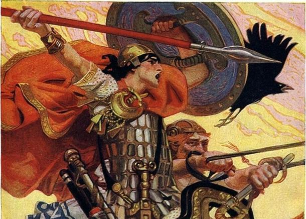 """""""Cú Chulainn Riding His Chariot into Battle"""", illustration by J. C. Leyendecker in T. W. Rolleston's Myths & Legends of the Celtic Race, 1911."""