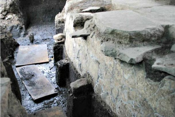 Detail of the Cuauhxicalco: a structure in which, according to historical sources, the bodies of tlatoanis (kings) were cremated. It is also the location of the newly discovered tunnel. ( Miriam G. Marín C. / MTM-INAH