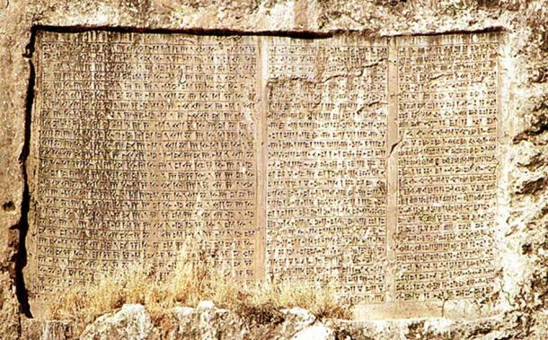 Cuneiform inscription of Xerxes, Van, Turkey. It is a trilingual inscription, written in Old Persian, Babylonian, and Elamite (from left to right).