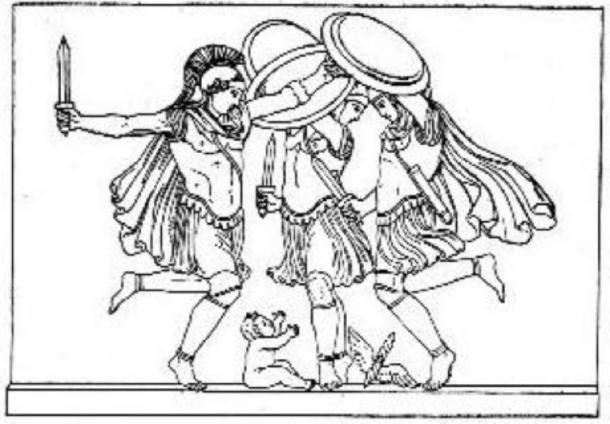 The Curetes dancing around the infant Zeus, as pictured in Themis by Jane Ellen Harrison (1912) (Public Domain)
