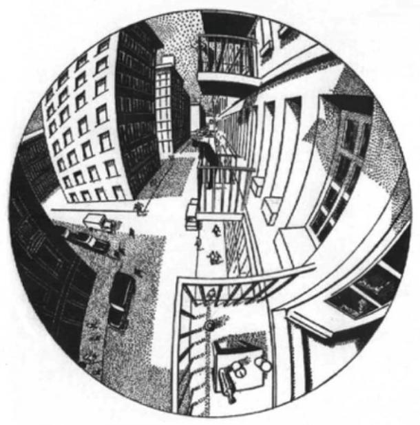 Curvilinear Spherical Perspective by Barre and Flocon (1930).The bottle is behind the sketcher.