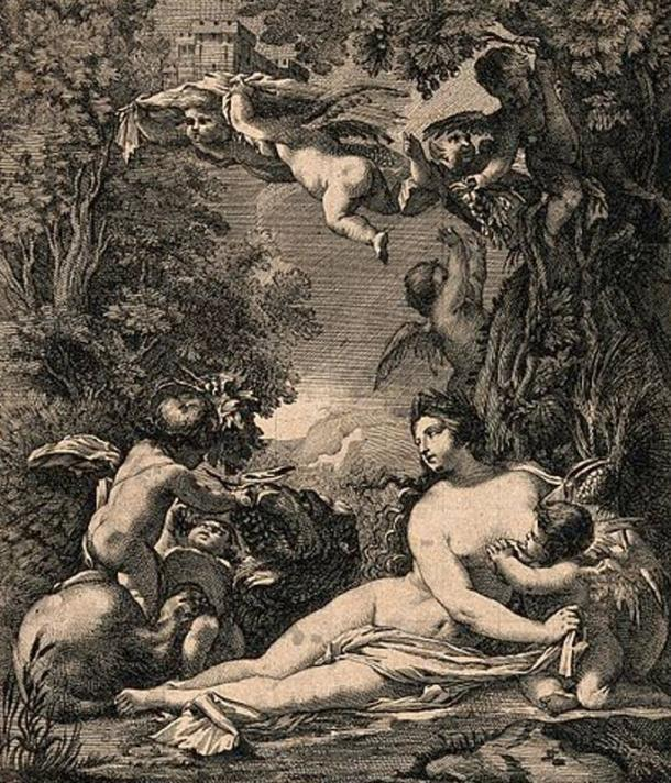 Cybele, earth goddess, surrounded by lions, fruit and general abundance, a flying putto carries a model of a building on his head. Engraving by M. Küssel after S. Vouet.