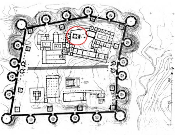 Cybele's temple, circled in red, is not oriented east to west as other important Roman landmarks are.