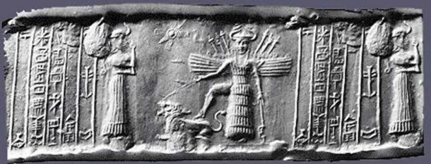 Cylinder seal depicting the descent of Inanna. Credit: The Oriental Institute, University of Chicago. Unlike Jacob's Ladder, which is represented with rungs or steps, Inanna/Ishtar passed through seven gates.