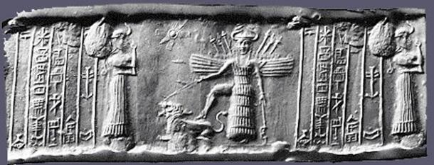 Cylinder seal depicting the descent of Inanna.