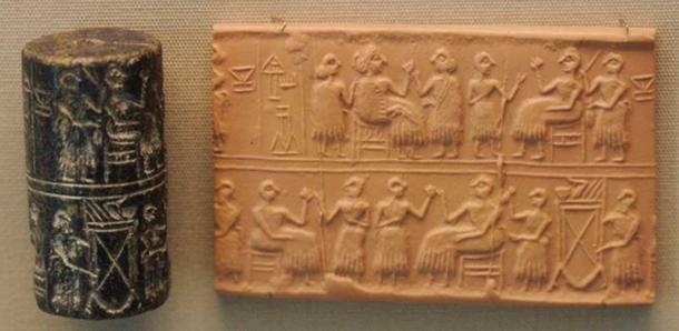 "Cylinder-seal of the ""Lady"" or ""Queen"" (Sumerian NIN) Puabi, one of the mais defuncts of the Royal Cemetery of Ur, c. 2600 BC. Banquet scene, typical of the Early Dynastic Period. (Nic McPhee/CC BY SA 2.0)"