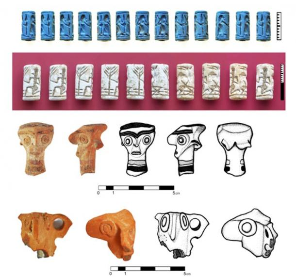 Cylinder seals and figurines from the oldest stratum of the site; these items were not in the tomb recently discovered but were from the same time frame.