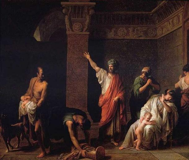 'Cyrus and Astyages.' Painting of king Astyages sending Harpagus to kill young Cyrus.