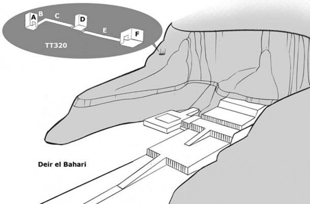 The location of DB320 at Deir el Bahari, where over 40 mummies were found