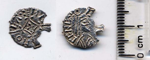 Damaged silver Viking coin showing Ceolwulf II of Mercia. (Fæ / CC BY-SA 2.0)