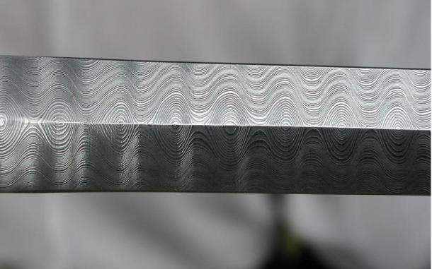 Damascus steel sword blade.