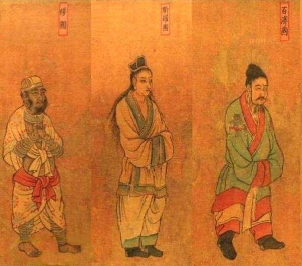 Damyeom-ripbon-wang-heedo (唐閻立本王會圖). 6th century, China. Envoys visiting the Tang Emperor. From left to right: Wa (Japan), Silla (center) ambassadors