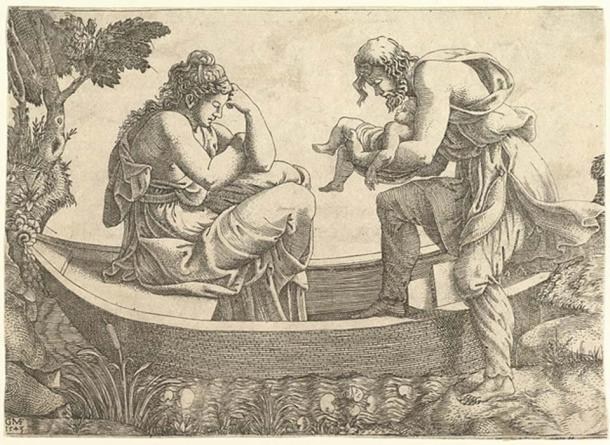 Danae and the infant Perseus cast out to sea by Acrisius (CC by SA 1.0)