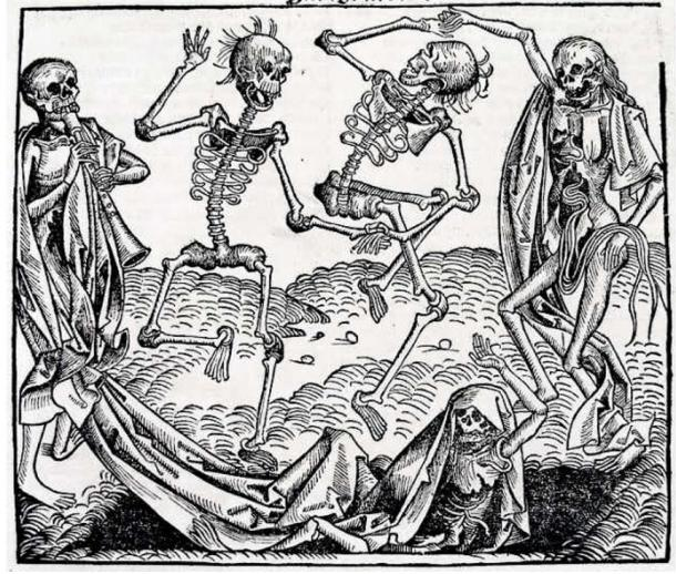 "Of the 80,000,000 people who inhabited Europe in 1346, only 30 million remained in 1353 because of the plague.""Dance Macabre"" by Michael Wolgemut."