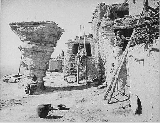 Dancers' Rock at the Hopi pueblo of Walpi in northeast Arizona as photographed in 1879