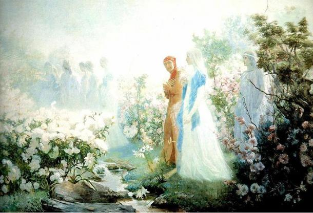 Dante and Beatrice at the River Lethe (1889), Cristobal Rojas