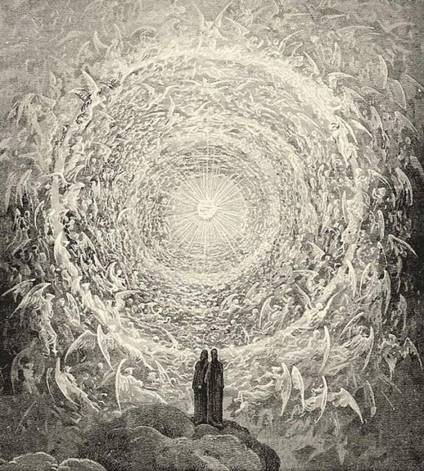 Dante's Paradise as depicted by Gustave Dore. Dante and Beatrice gaze upon the highest Heaven, The Empyrean.