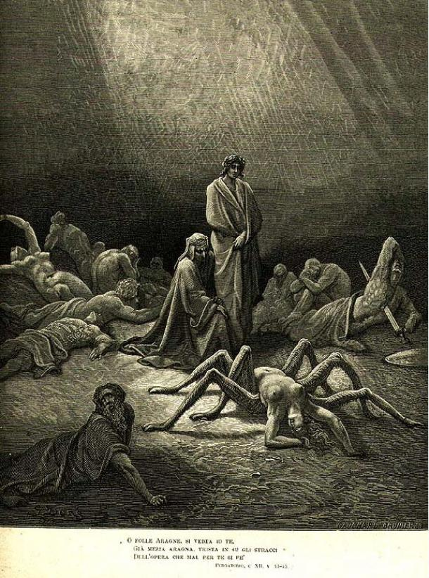 In an illustration for Dante's Purgatorio 12, by Gustave Doré, Arachne's twisted, spiderlike body can be seen.