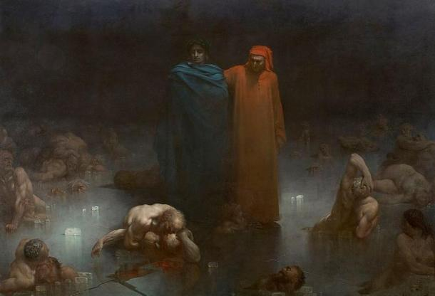 Dante and Virgil in the ninth circle of hell (1861), Gustave Doré