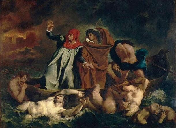 Dante and Virgil on the boat in hell (1822), Eugene Delacroix