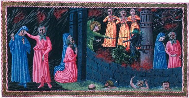 Dante and Virgil arrive at Dis
