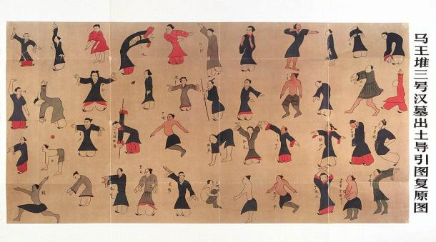 Ancient Chinese Daoyin tu chart for exercise to improve health and for the treatment of pain. Based on a reconstruction of the 'Guiding and Pulling Chart' excavated from the Mawangdui Tomb 3 in the former kingdom of Changsha. (Welcome Collection gallery / CC BY 4.0)