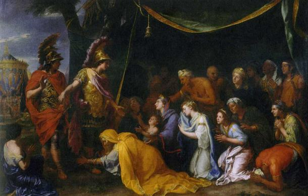 Darius III's family in front of Alexander the Great. (1661) By Charles le Brun. Sisygambis (in yellow) is kneeling to ask for mercy.