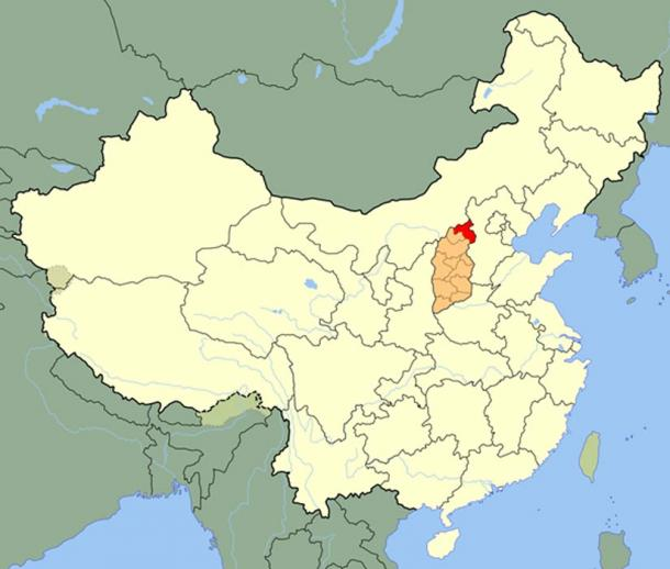Datong (red) in Shanxi (orange).