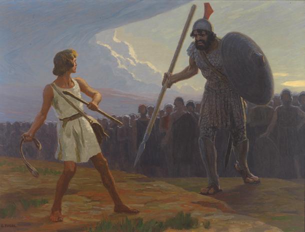 David fights Goliath by Gebhard Fugel, 19th century