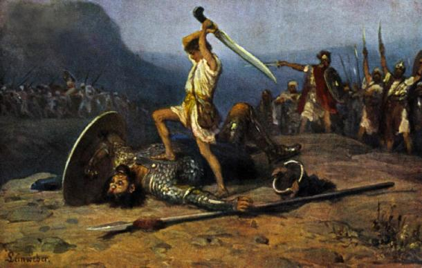 Depiction of David slaying Goliath. (Anton Robert Leinweber / Public domain)