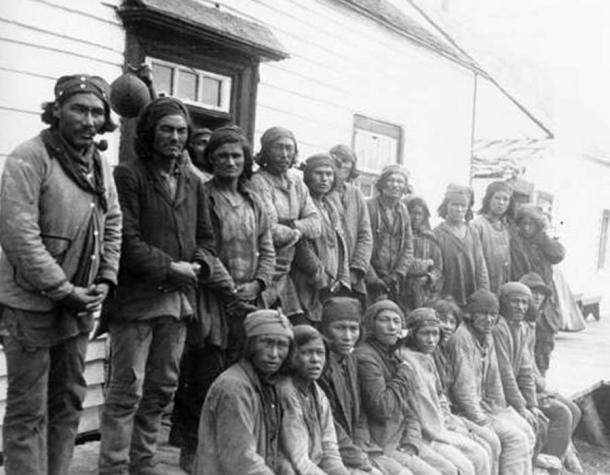Davis Inlet, August 1903. Innu traders gathered outside the Hudson's Bay Company post in Davis Inlet, Labrador.
