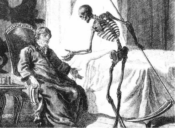 Death as a skeleton carrying a scythe.