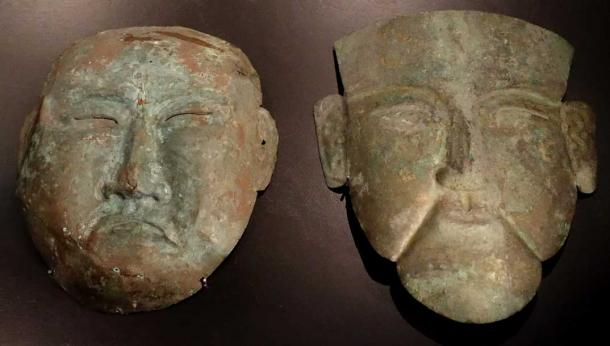 Death masks, Khitan people, northern China and Inner Mongolia, Liao dynasty, c. 1000 AD, left copper, right silver - Östasiatiska museet, Stockholm. (CC0)