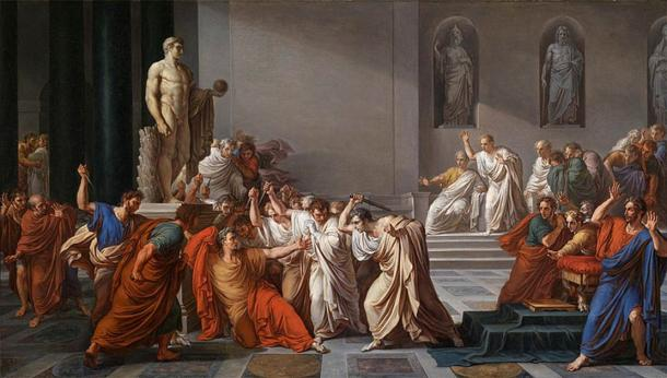 The Death of Caesar by Vincenzo Camuccini – assassination at the beginning of the collapse of Rome. (Public Domain)
